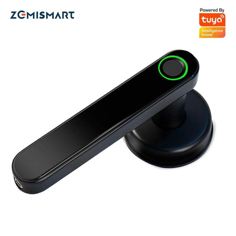 Zemismart Tuya Smart Fingerprint Lock Intelligent Security Door Lock Encryption Work With Smart Life App Passward Unclock